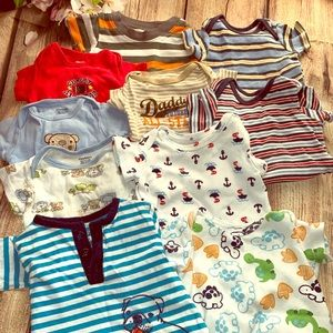 Lot of 10 items. Newborn-3 months shirts & onesies